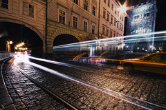 The Crossing (TheFella) Tags: road street longexposure blue light red people white slr tower yellow night digital photoshop canon eos photo europe crossing traffic czech prague cab taxi gothic trails tram arches praha headlights cobbled unescoworldheritagesite unesco nighttime photograph processing slowshutter pedestrians getty czechrepublic lighttrails dslr baroque cobbles charlesbridge oldtown pedestriancrossing traffictrails tramtracks karlvmost postprocessing 500d bridgetower oldtownbridgetower twtmewpc smetanovonabr lpmovement