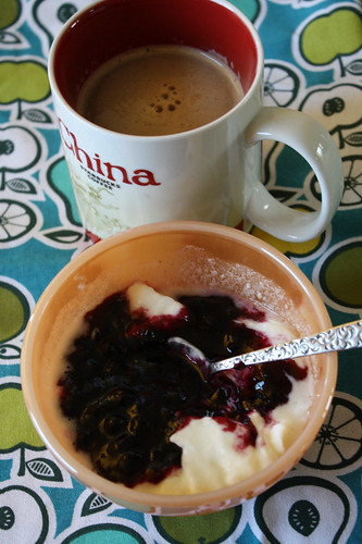 coffee, yogurt with preserves