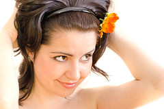 Studio shooting preparations (Slobodan Miskovic) Tags: red summer portrait woman flower eye love nature floral girl beautiful beauty smile face look fashion female hair studio naked relax person one spring healthy holding long pretty day bright blossom background young makeup happiness curls health human single smell daffodil shooting serene brunette care sensuality preparations freshness cosmetic femininity  skincare