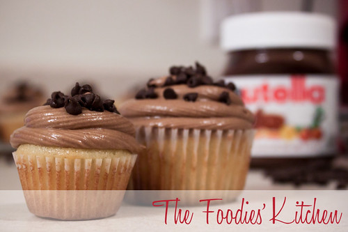 Vanilla Cupcakes with Nutella Buttercream Frosting