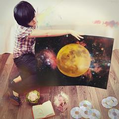 Dibujando la Luna, una novela de Marta Surez Cota (Lunayda) Tags: flowers moon girl painting stars book nikon paint cd nebula novel