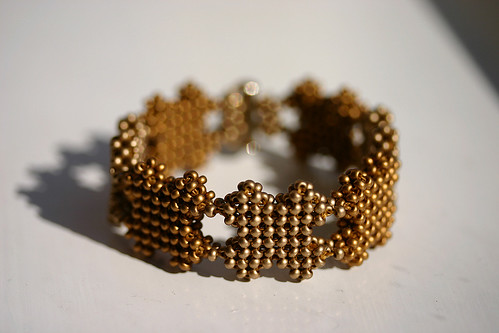 Two Tone Gold Cross Bracelet