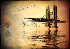 Abandoned Bridge at Endless (Alles Klaar) Tags: bridge trees water birds sepia reflections framed secondlife textured simplybeautiful filterforge friday731amhundert