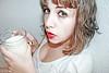 deleite (re-edición) (esther kiras) Tags: red portrait white blanco glass valencia canon milk rojo retrato lips late labios leche vaso 400d
