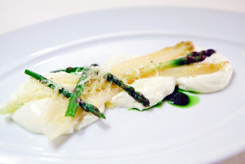 First Course: Jumbo White French Asparagus and Roasted Green Asparagus with Pencil Asparagus Basil Dressing in a Comté Cloud