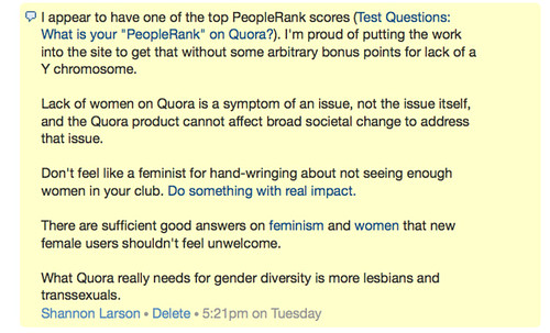 What Quora really needs for gender diversity is more lesbians and transsexuals.
