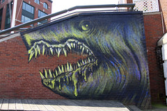 Shark Toof (Voluntary Amputation) Tags: streetart graffiti paint nh tags spray bumblebee portsmouth harbourplace alexandrosvasmoulakis herakut sharktoof andreasvonchrzanowski portsmouthmuseumofart may112011september112011