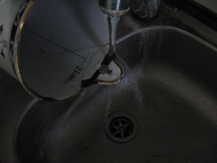 Washing the Piece under the Water (Lombardarella) Tags: repair enamel