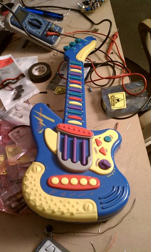 Toy guitar hacked midi controller