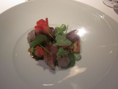 Manresa - Los Gatos, CA - June 2011 - Spring Lamb, Pickled tongue, Smoked date with cumin seed, roasted carrots, braised lettuce, nasturiums