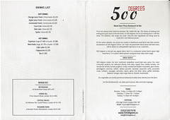 Menu (Sep 2016) from 500 Degrees, Croydon, London CR0 (Kake .) Tags: menu croydon london cr0