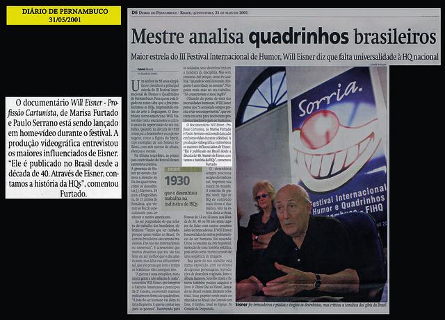 """""""Mestre analisa quadrinhos brasileiros"""" - Diário de Pernambuco - 31/05/2001"""