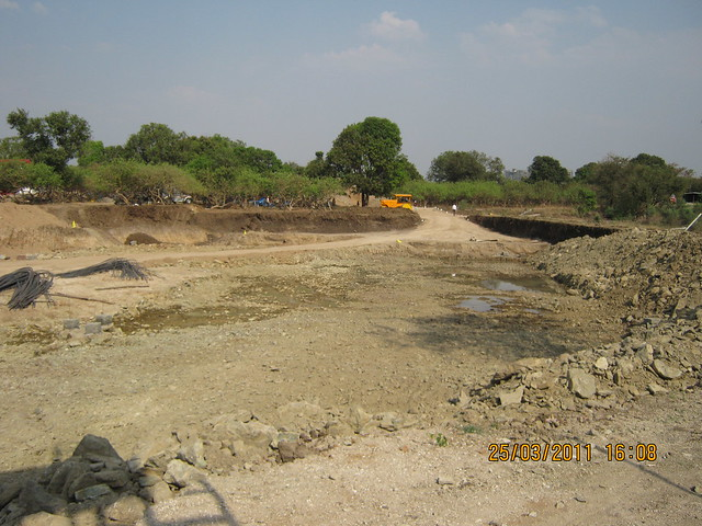 View of the excavated site of DSK Gandhakosh Baner Pune