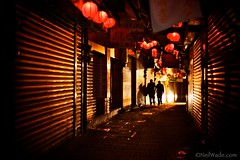 Jiufen Old Street 九份老街 (Taiwan Adventures) Tags: lighting door old travel shadow red reflection history tourism metal night dark couple asia closed alone doors moody shadows market weekend walk traditional chinese scenic culture taiwan lifestyle historic adventure nightmarket shops taipei guide lantern tradition 台灣 台北 tours barren stroll teahouse guides deserted cultural 九份 afterhours jiufen jioufen northerntaiwan jeofen rueifangtownship taiwanadventures