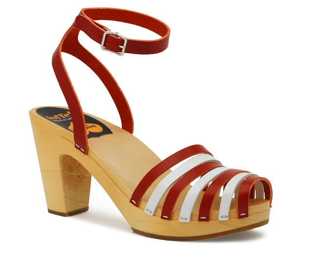 399 Striped Beach Sandal Red and White