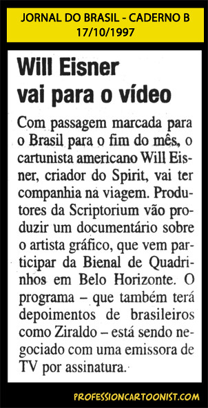 """Will Eisner vai para vídeo"" - Jornal do Brasil - 17/10/1997"