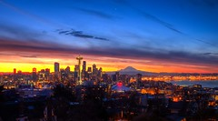 Pining For The Sun In Seattle HDR (Fresnatic) Tags: blue sky orange yellow sunrise spaceneedle kerrypark mtrainier hdr queenannehill downtownseattle lightroom photomatix hdraddicted seattlesunrise canonrebelxsi seattlehdr fresnatic photoshopcs5 seattlewintersunrise