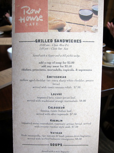 The Row House Grilled Cheese Menu