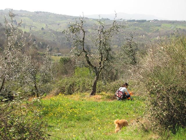 Mirto and Serena pick herbs