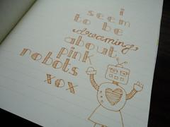 Pink Robots! (Miss Ellie-Lou) Tags: doodles artjournal moleskin journalling patternedpaper