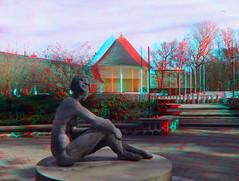 3D red/cyan Anaglyph - Kühlungsborn,  Konzertgarten Ost / open air theater (3D - red/cyan) Tags: sculpture statue stereoscopic 3d skulptur anaglyph ost kühlungsborn bühne redcyan finepixreal3dw1 konzertgarten fujifilmfinepixreal3dw1