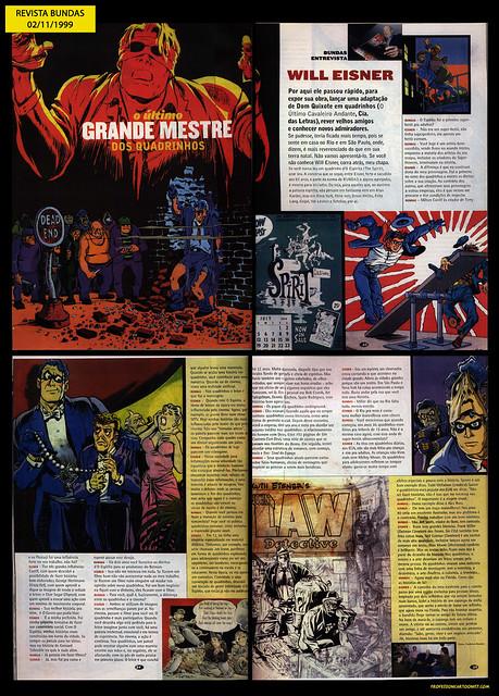 """""""O último grande mestre dos quadrinhos"""" - Revista Bundas - 02/11/1999"""