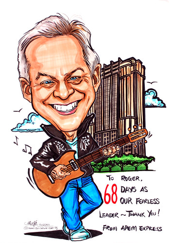 Rocker caricature with guitar for APEM Express