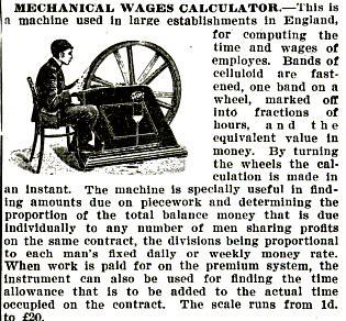 Mechanical Wages Calculator Pop Mech Mar 1906