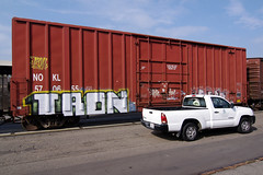 TRON (TRUE 2 DEATH) Tags: street railroad streetart art train truck graffiti tag graf trains railcar spraypaint boxcar tron railways railfan freight freighttrain rollingstock benching freighttraingraffiti