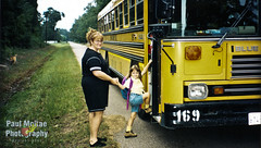 First Day (Paul McRae (Delta Niner)) Tags: street blue bus film glasses august molly backpack 1998 shorts schoolbus redhair 169 determination confidence caseyohare annetteohare