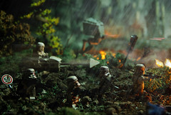Empire AT War (Shobrick) Tags: city green rain speed fire ruins war lego apocalypse ashes jungle empire stormtrooper laser fighting custom weapons strawars atwalker shobrick