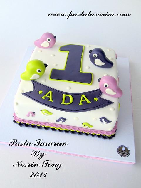 LITTLE BIRDS 1ST BIRTHDAY CAKE - ADA BIRTHDAY