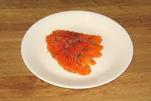 Gravlax, sliced and plated