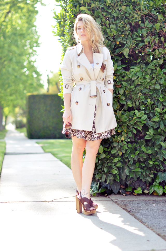 shorty Burberry Trench Coat and leaf skirt and Miu Miu's