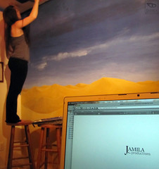 Sahara Mural (Jamila BC) Tags: cloud art sahara painting twilight mural desert dusk jamila jamilaproductions