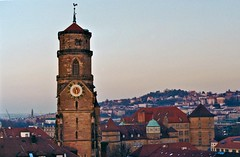 Stiftskirche (Stuttgart) (Michad90) Tags: city sunset urban film germany 50mm minolta stuttgart stiftskirche x300s