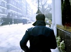 (Benjamin Skanke) Tags: street england man london mamiya analog walking 645 kodak pro medium format 28 portra canoscan 120mm 80mm 160nc sekor