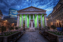 Royal Exchange (TheFella) Tags: city uk longexposure greatbritain blue england sky green slr london architecture night clouds digital photoshop canon buildings eos photo high twilight europe dynamic unitedkingdom dusk capital royal thecity bank explore photograph processing slowshutter gb royalexchange bluehour dslr pillars range exchange hdr highdynamicrange cityoflondon postprocessing 500d cornhill photomatix threadneedlestreet explored hdrs sirwilliamtite sirthomasgresham