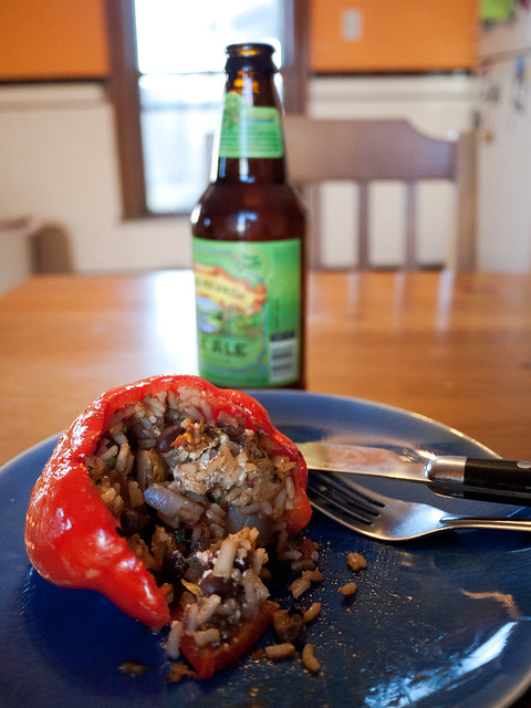 Stuffed Pepper, Beer, and Spilled Delicious Innards