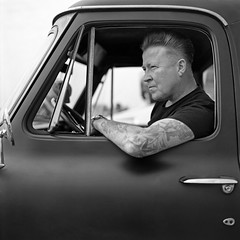 50s Billy Boy (ted.kozak) Tags: bw man 6x6 car mediumformat handle muscle earring rocker converted kodakportra160vc 1950 selfdeveloped c41 kozak bronicasqa explored zenzanonps80mmf28 tetenalkit tedkozak