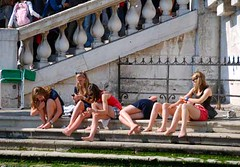 Girls on Grand Canal - Venice, Italy (waynedunlap) Tags: world travel venice girls italy college girl canal italian escape legs leg young plan grand your venetian now unhook unhooknow grurus