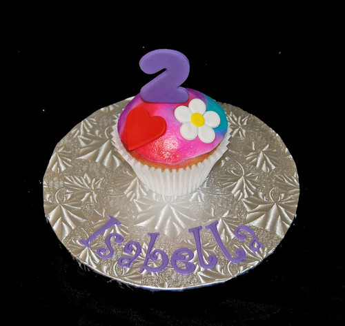 Tie dye topper jumbo cupcake 2nd birthday cupcake tower hearts, flowers and peace signs