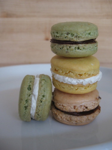 pistachio, lemon, and strawberry macarons