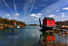Winter Blues (sminky_pinky100 (In and Out)) Tags: travel blue houses winter red white canada tourism ice water reflections landscape boats novascotia scenic coastal dory colouful fishingshack bluerocks theperfectpicture omot cans2s nspp perfectioninpictures stonehurstcove