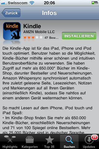 Kindle iPhoneApp