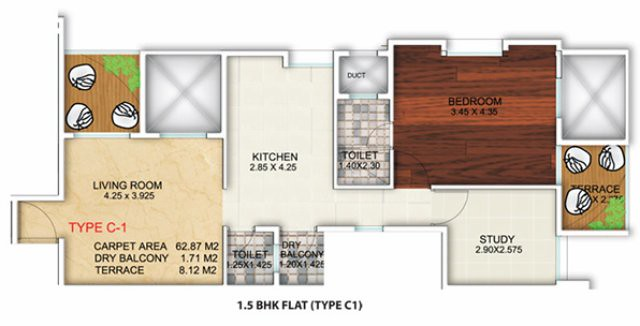 Apex Athena - near Akshara International School - off Mumbai Bangalore Bypass - Wakad Pune - 1.5 BHK Flat - C1 Type - 698 sq.ft. Carpet + Dry Balcony + Terrace - for Rs. 38.10 Lakhs