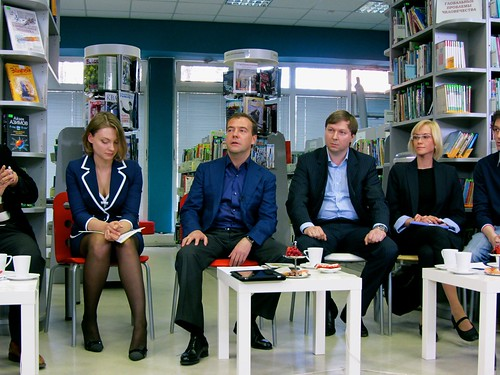Russian President Dmitry Medvedev debates with netizens. Image by Flickr user Gregory Asmolov (CC BY-NC 2.0).