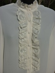 Leo Paley of New York Victorian Inspired Cream Lace Ruffled Blouse Close Up Front (mondas66) Tags: ruffles lace victorian chiffon ascot blouse poet romantic elegant ornate lacy dainty prim frilly elegance jabot ruffle demure blouses frills frill ruffled flouncy flounce lacework frilled flounces frilling frillings befrilled leopaley