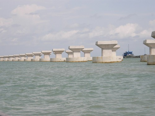 A row of completed piers