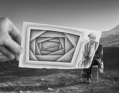 8 - Pencil Vs Camera for Art Official Concept (Ben Heine) Tags: life blackandwhite inspiration art monochrome lines sepia square word photography book boek photographie drawing geometry mixedmedia surrealism details perspective creative dream picture talk magritte oldman philosophy dessin souvenir illusion age memory simplicity frame question photoediting bubble disabled reality imagination series escher handicap past enfant rectangle livre depth mylife minimalist speak cadre caboverde existence vie bulle psychology canne afrique crosshatching interrogation capeverde miseenabyme pass postprocessing mavie rve profondeur capvert theartistery vieillard frameinaframe benheine pencilvscamera artofficialconcept mijnlijf
